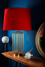 Load image into Gallery viewer, Golden Coop Table Lamp with 3 [BEIGE, RED VELVET, YELLOW] Shade
