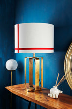 Load image into Gallery viewer, Golden Cross Table Lamp with Red Stripes White Lampshade