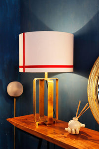 Golden Cross Table Lamp with Red Stripes White Lampshade