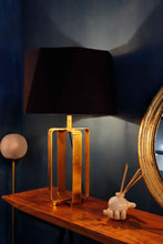 Load image into Gallery viewer, Golden Cross Table Lamp with Octagon Black Lampshade