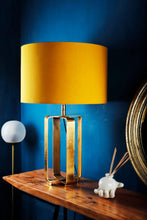 Load image into Gallery viewer, Golden Cross Table Lamp with Yellow Lampshade