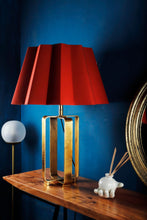Load image into Gallery viewer, Golden Cross Table Lamp with Designer Red Folded Lampshade