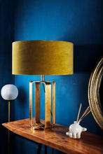 Load image into Gallery viewer, Golden Cross Table Lamp with 2 [YELLOW, OLIVE GREEN] Lampshade