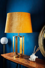 Load image into Gallery viewer, Golden Cross Table Lamp with 2 Frustum [BEIGE, YELLOW] Shade