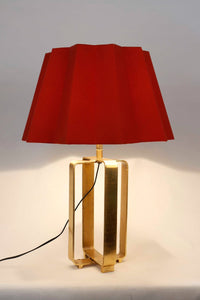 Golden Cross Table Lamp with Designer Red Folded Lampshade