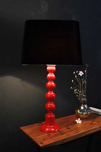 Red Caterpillar Table Lamp with BLACK Shade [in 3 Sizes]
