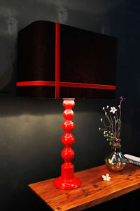 Red Caterpillar Table Lamp with 2 [BLACK, WHITE] Rectangular Shade