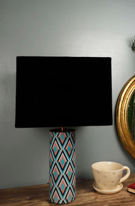 Phantom Table Lamp with 2 Rectangle [VELVET, BLACK] Lampshade