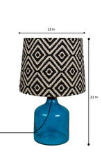 Load image into Gallery viewer, Aqua Table Lamp with Black Printed Designer Lampshade