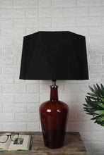 Load image into Gallery viewer, Trendy Hexagon Black Lampshade Merlot Red Table Lamp