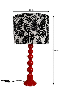 Red Caterpillar Table Lamp with Printed Designer Shade