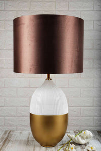 Handmade Capsule Table Lamp with Copper Color Shade