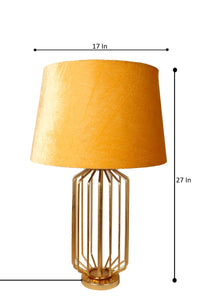 Golden Coop Table Lamp with 3 [BEIGE, RED VELVET, YELLOW] Shade