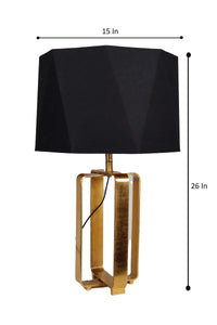 Golden Cross Table Lamp with Octagon Black Lampshade