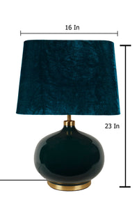 Green Womb Table Lamp with 2 [GREEN VELVET, BLACK] Shade