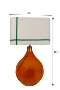 Big Bump Table Lamp with Green Stripe Rectangle Shade