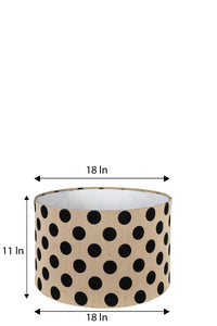 Bumpy Brown Table Lamp with Round Polka Dots Shade