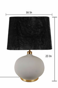 Grey Womb Table Lamp with 2 [BLACK, GREEN VELVET] Lampshade