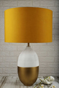 Handmade Capsule Table Lamp with Tangerine Color Shade
