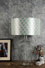 Load image into Gallery viewer, Clear Bottle Table Lamp with Round Shade 2 [GREY, GREEN POLKA DOTS]