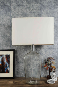 Clear Bottle Table Lamp with Rectangular (White, Black) Shade