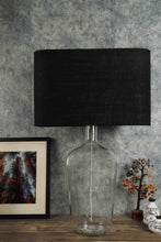 Load image into Gallery viewer, Clear Bottle Table Lamp with Rectangular (White, Black) Shade