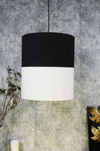 Load image into Gallery viewer, Double Shade Black & White Cotton Hanging Lamp