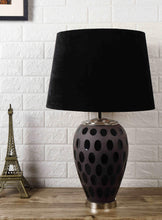 Load image into Gallery viewer, Purple Dot Glass Table Lamp with Classic Black Lampshade