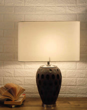 Load image into Gallery viewer, Purple Dot Glass Table Lamp with Rectangular White Lampshade