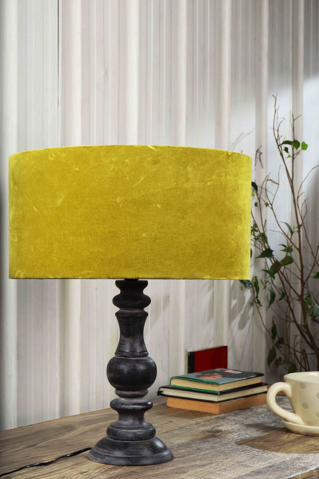 Shady Black Table Lamp with Olive Green Lampshade