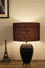 Load image into Gallery viewer, Purple Dot Glass Table Lamp with Brown Lampshade