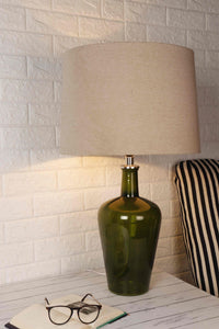 Wheat Brown Color Lampshade Merlot Green Table Lamp