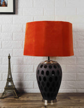 Load image into Gallery viewer, Purple Dot Glass Table Lamp with Hexagon Rugged Orange Lampshade
