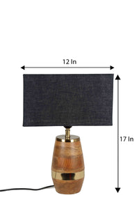 Tribal Wooden Table Lamp with 2 [BROWN, BLACK] Rectangular Lampshade