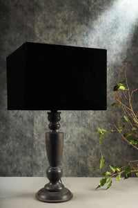 Trophy Smoked Table Lamp with 2 [VELVET, BLACK] Rectangular Lampshade