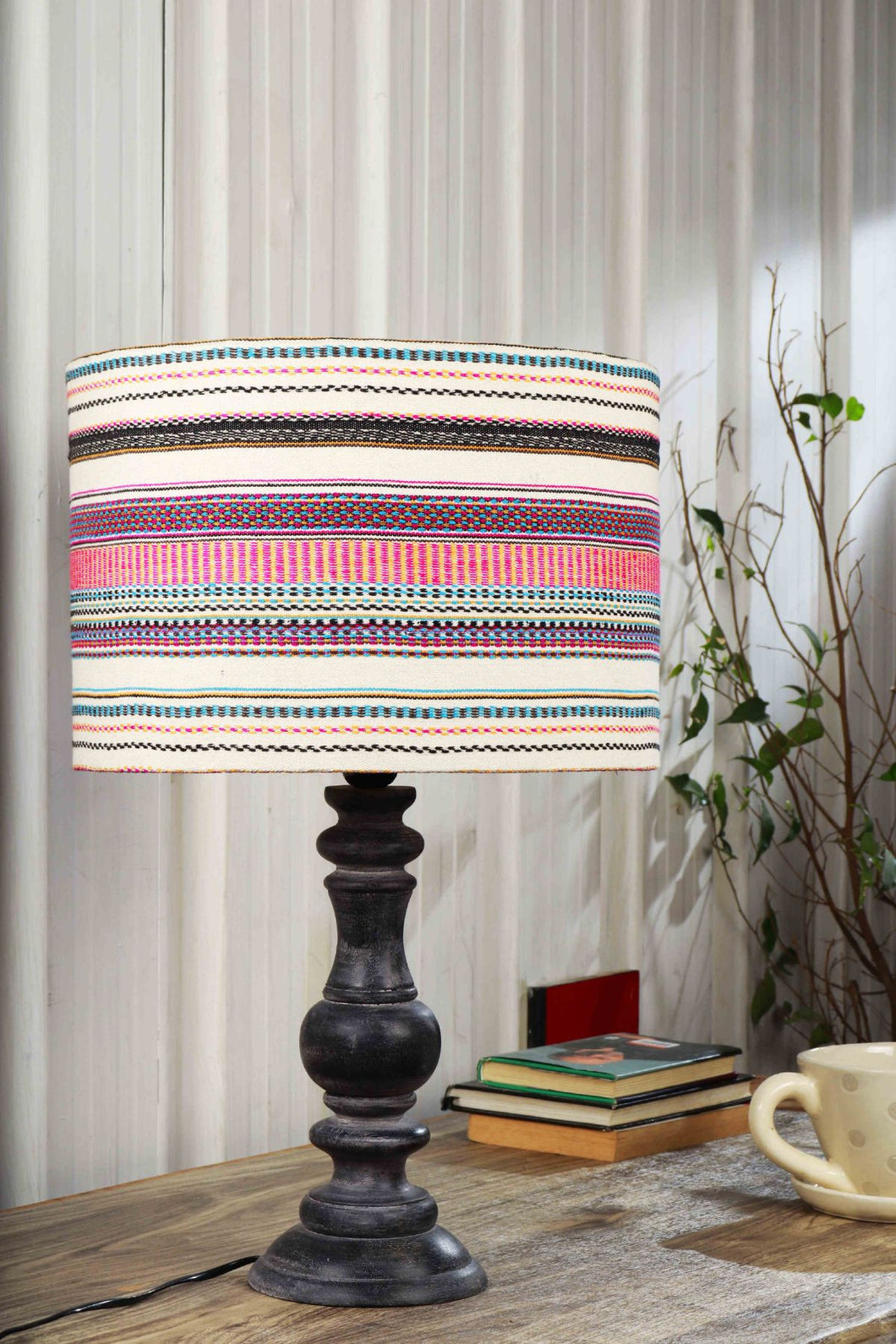 Shady Black Table Lamp with Multicolor Lampshade