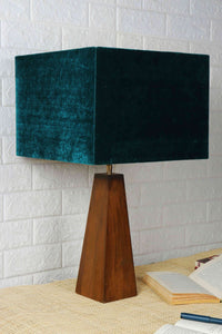 Tree Trunk Table Lamp with 3 [GREEN VELVET, BLACK, WHITE] Lampshade