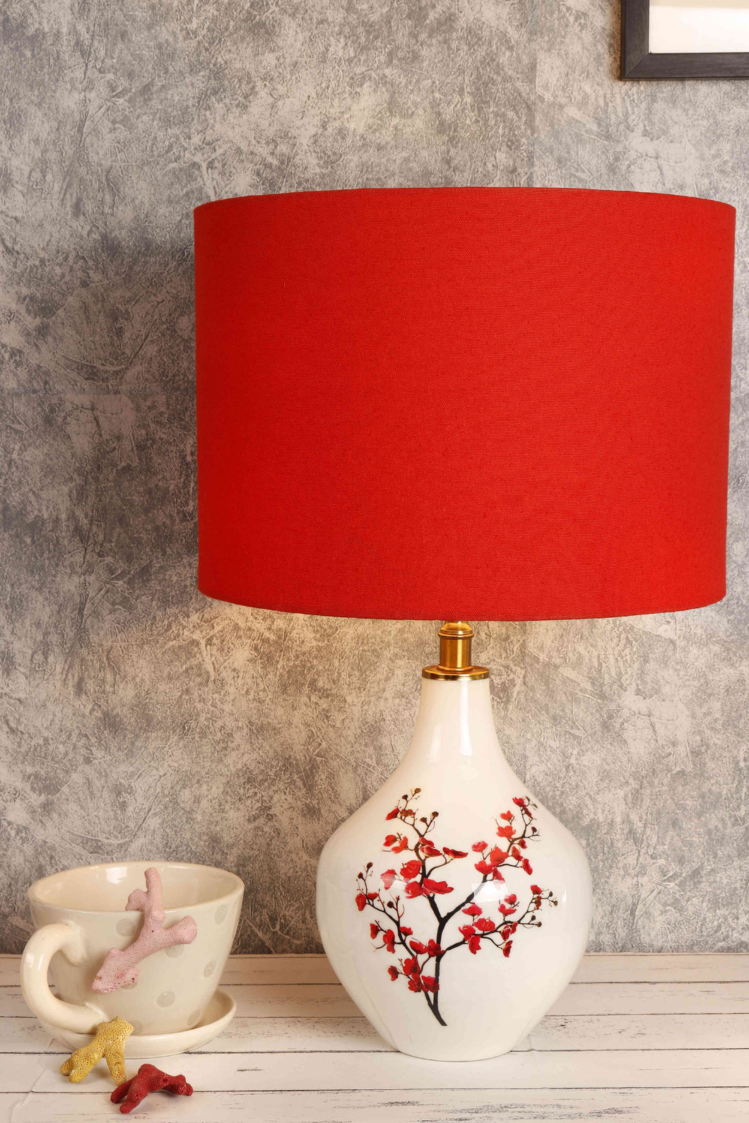 Cherry Blossom Table Lamp with Red Lampshade