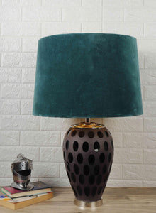 Purple Dot Glass Lamp with 3 [BLACK, DUSTY PINK, GREEN VELVET] Lampshade
