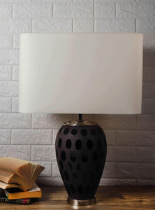 Purple Dot Glass Table Lamp with Rectangular White Lampshade
