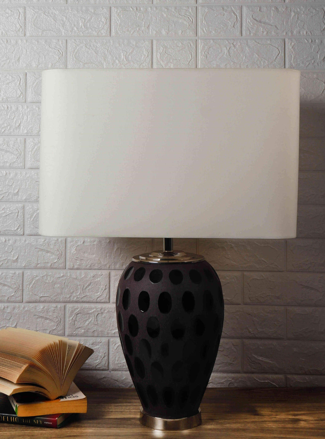 Purple Dot Glass Table Lamp with 2 [WHITE, BEIGE] Lampshade