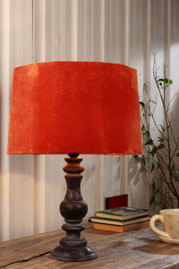 Shady Black Table Lamp with 3 [PINK VELVET, RUGGED ORANGE, SKY BLUE] Shade