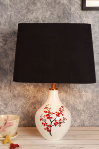 Cherry Blossom Table Lamp with Rectangular Black Lampshade