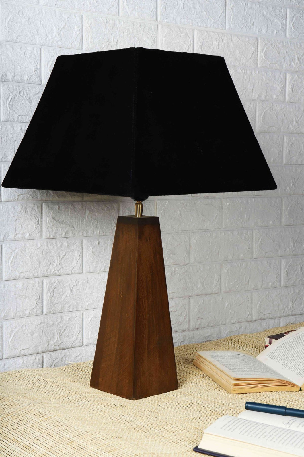 Tree Trunk Table Lamp with 2 [BLACK, BEIGE] Trapezium Lampshade