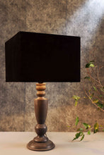 Load image into Gallery viewer, Trophy Smoked Table Lamp with 2 [VELVET, BLACK] Rectangular Lampshade