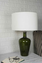 Load image into Gallery viewer, Merlot Green Table Lamp with 3 (Velvet, Silver Velvet, White) Shade
