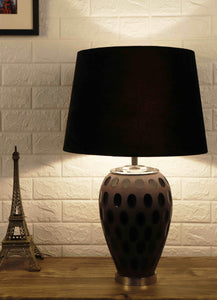 Purple Dot Glass Table Lamp with Classic Black Lampshade