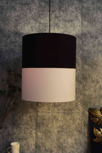 Double Shade Black & White Cotton Hanging Lamp