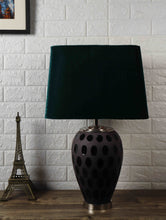 Load image into Gallery viewer, Purple Dot Glass Table Lamp with Bottle Green Lampshade