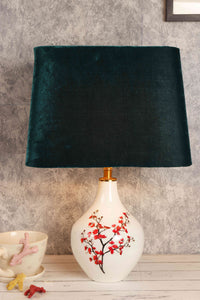 Cherry Blossom Table Lamp with Bottle Green Lampshade